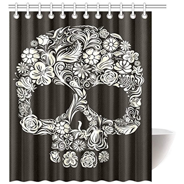 Interestprint Skulls Shower Curtain Home Decor Floral Flowers Sugar Skull Shower Curtain S With Images Skull Shower Curtain Sugar Skull Shower Curtain Shower Curtain Sets