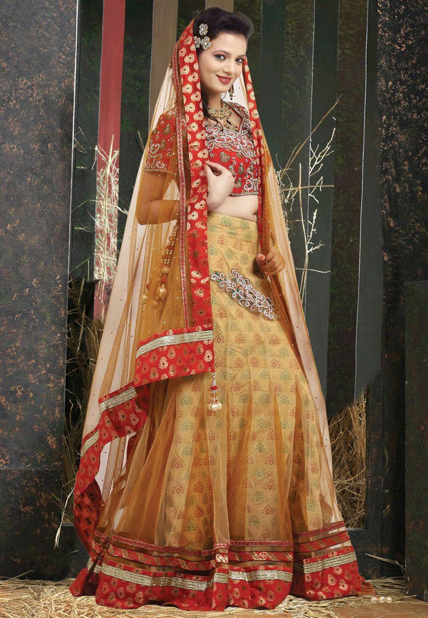 Fawn Net Lehenga Choli with Dupatta Online Shopping: LBS33