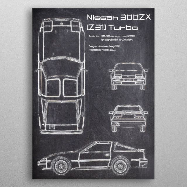 nissan Z31 CHALK metal poster | Displate thumbnail