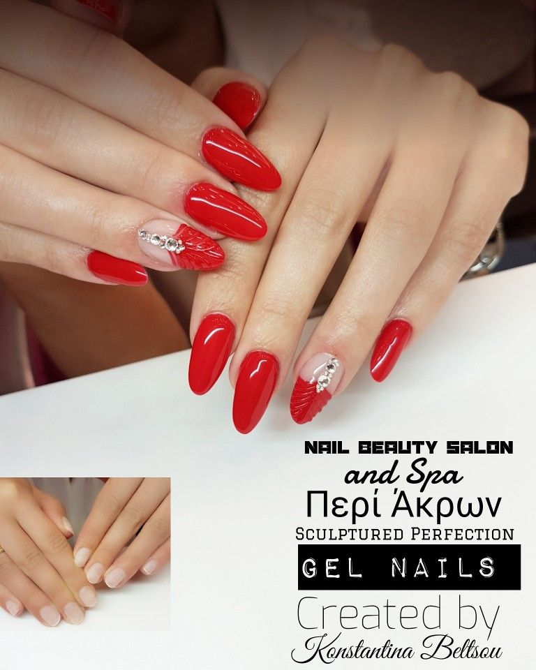 Long almond nails, red nails, gel nails, nail art, jewelry design ...
