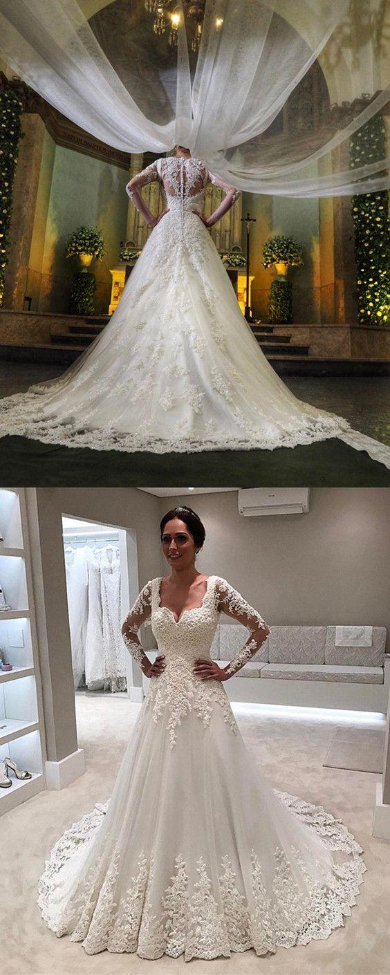 Aline square neckline long sleeves lace wedding dresses square