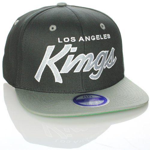 f0b0975b52b4c1 Los Angeles Kings Snapback Script Black / Grey Two Tone Adjustable Plastic  Snap Back Hat /