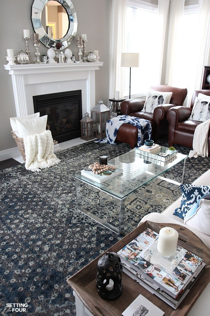New Indigo Blue Rugs In Our Living Room And Kitchen Living Room Leather Leather Living Room Furniture Brown Living Room