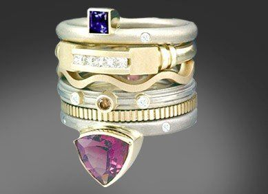 Style Amethyst 6 Ring Stack contemporary series of 6 detailed and textured rings totalling $7740. Select an individual ring or change gold gemstone colors, many options avail.