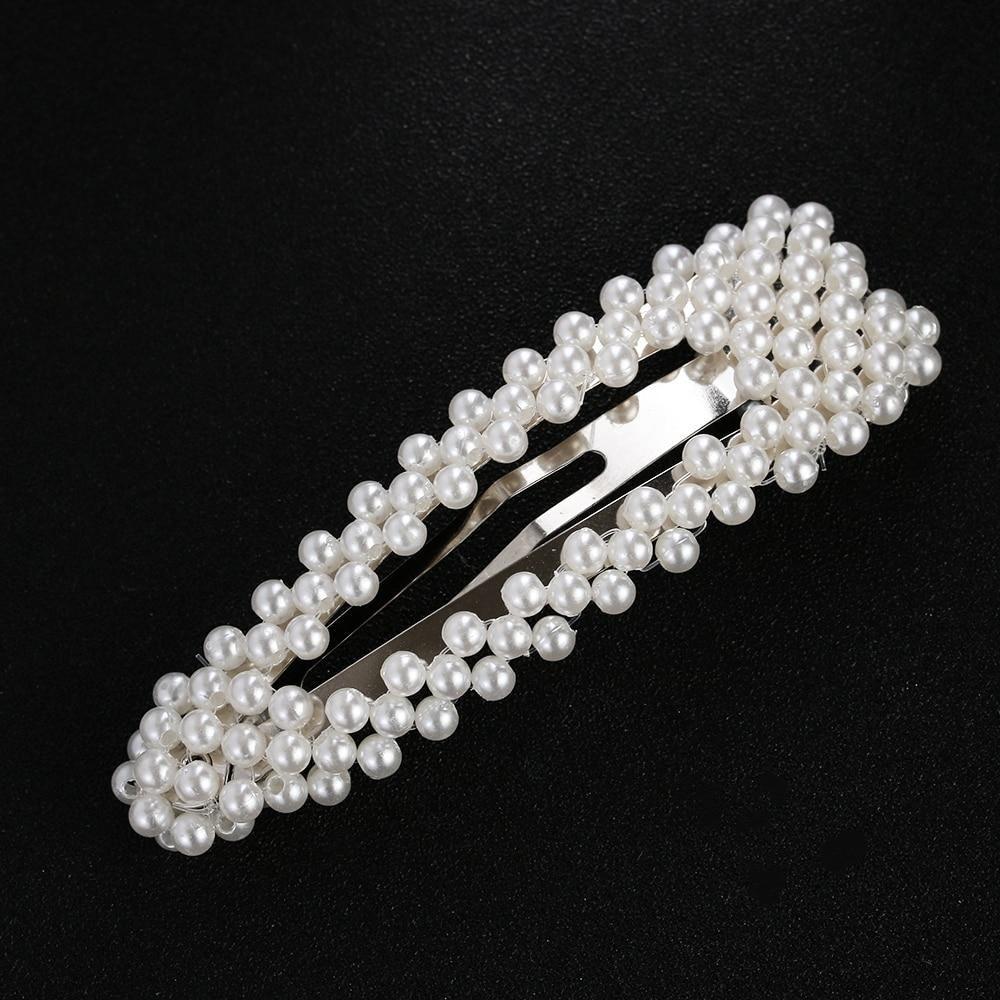 Women Girls Korean Pearl Hair Clip Snap Barrette Stick Hairpin Hair Accessories