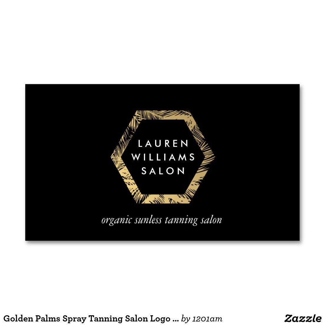 Golden Palms Spray Tanning Salon Logo on Black Business Card ...