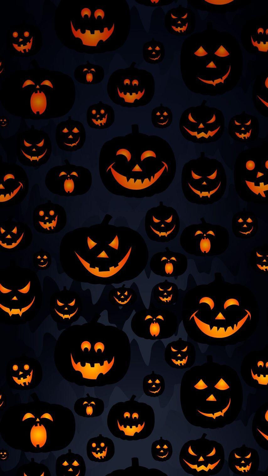 ScaryHalloweenPumpkinMasksiPhoneWallpaper Halloween