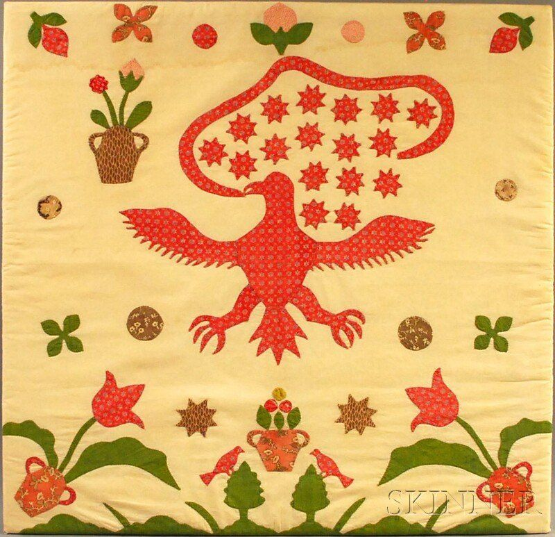 Appliqued Cotton Patriotic Eagle Crib Quilt, America, late 19th century, printed cotton segments appliqued to a white muslin ground, with eagle, star, and banner motifs, along with flowers, trees, and birds, mounted on a wood stretcher, (water stain along top edge, some fading, toning, wear, and scattered small holes to applique, laid down, possibly cut down), 34 1/2 x 35 1/2 in.