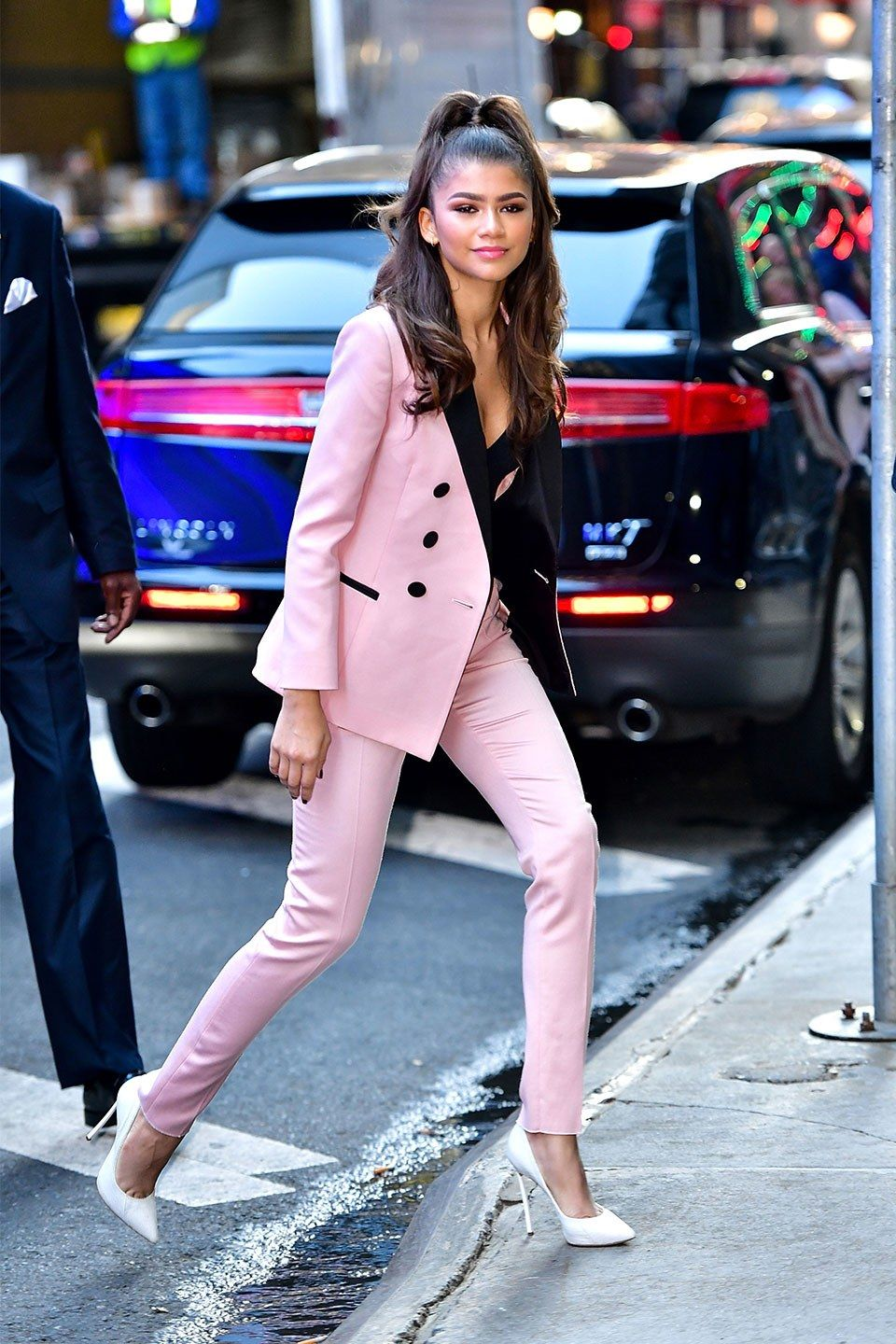 97fad6176eb  Zendaya Channels Business Barbie in Pink Suit by Dundas. Photo by James  Devaney. Zendaya is the latest to give her stamp of approval on the trend