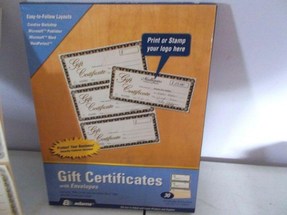 Adams Gift Certificates Envelopes Printable Injet Laser #Adams