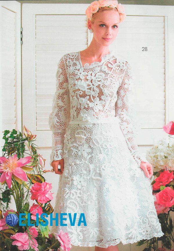 Мотив роза крючком для свадебного платья