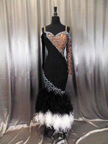 Black Latin Dress w/ Macrame Design and Ostrich Feather Boa Skirt -  Artistry in Motion Designs