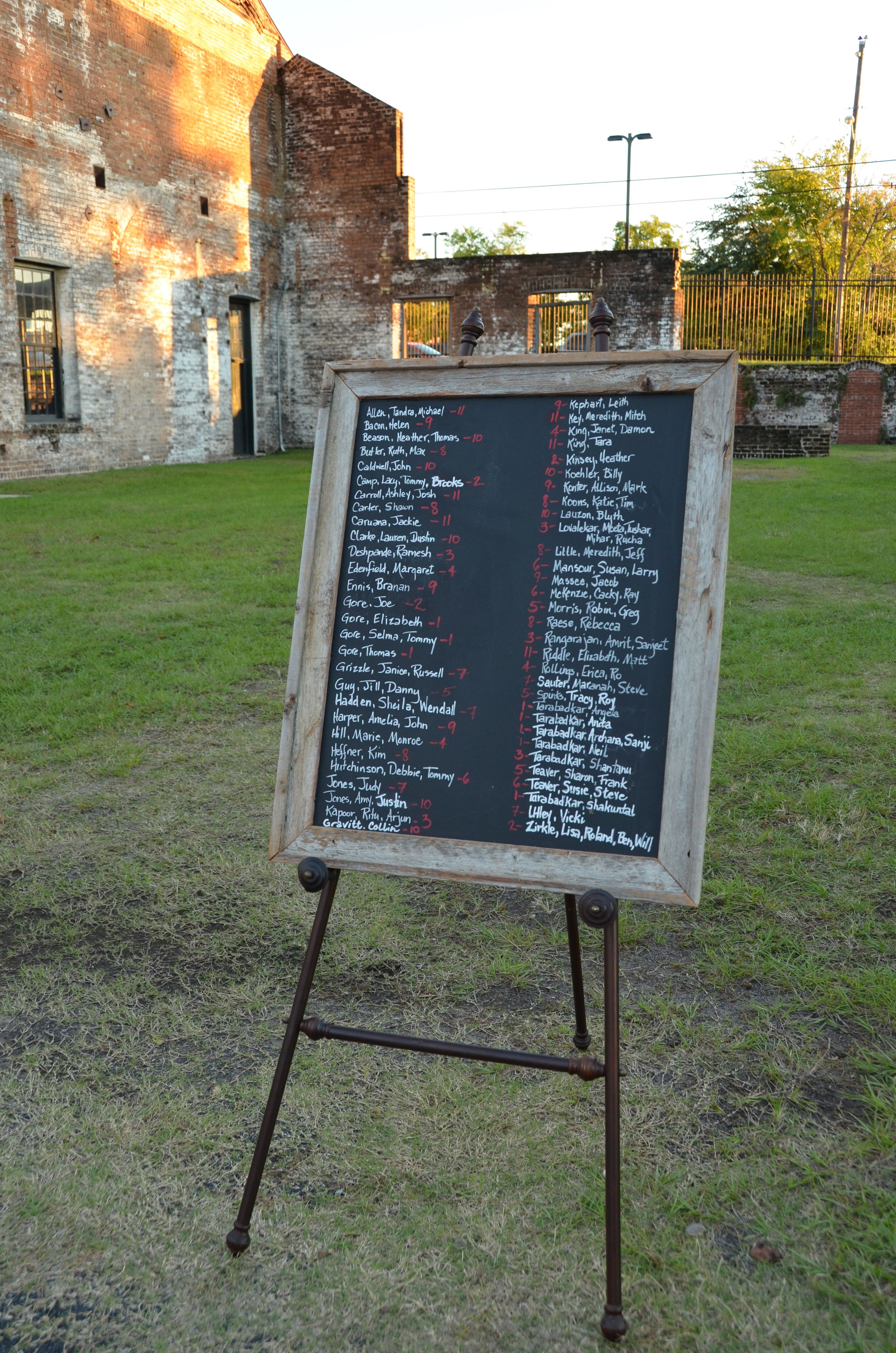 Seating chart: Old frame with glass painted with chalkboard paint ...