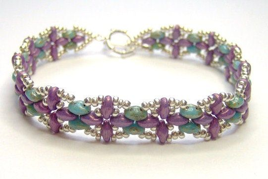 Purple and silver bracelet, superduo bracelet, super duo bracelet, twin bead, purple bracelet, beadwork bracelet, beadwoven bracelet