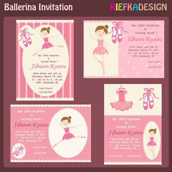 Ballerina Invites  Blank Invitation Template  For Printed Cards