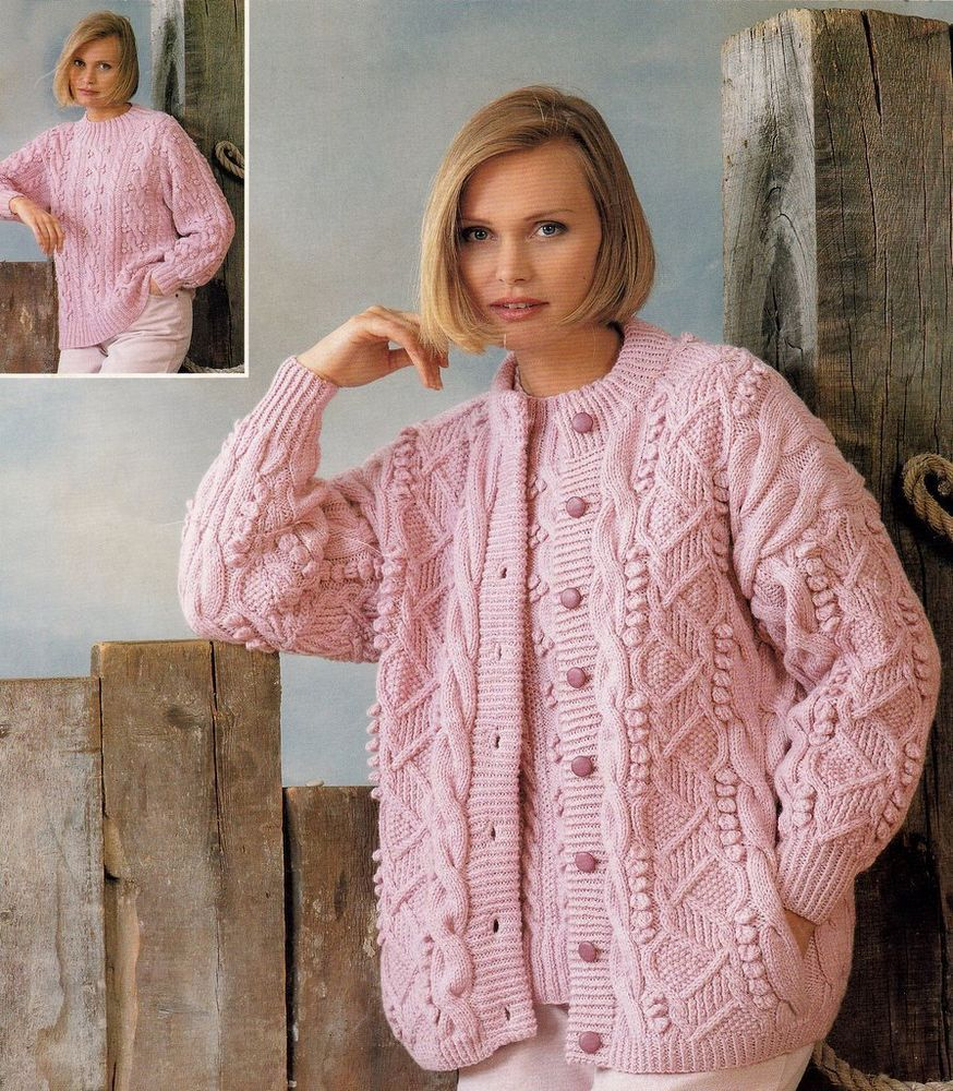 Knitting In The Round Sweater Patterns Free : Aran / DK Round Neck CARDIGAN & SWEATER Knitting Pattern Womans Ladies ...