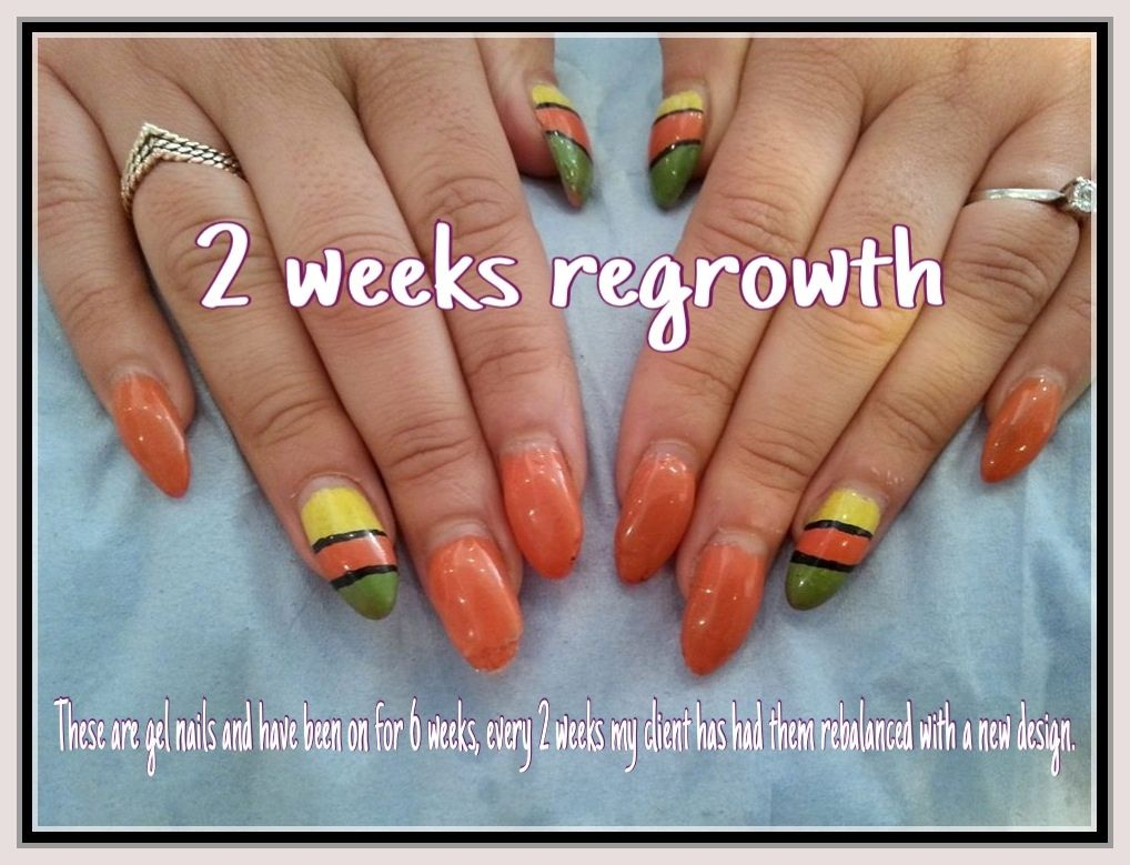 Gel Nails Showing 2 Weeks Regrowth Acrylic Ointments Painted