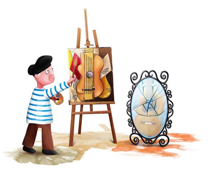 """Picasso iIustración para cuento """"Gato Negro, el felino de la buena suerte"""" (mundo infantil colores olvidados) by Desiree Arancibia www.mamaghanush.com"""