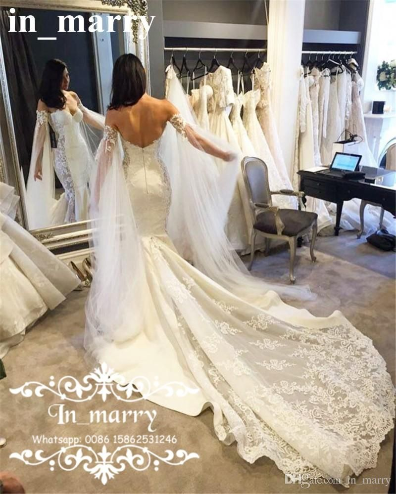 Low back lace mermaid wedding dress   Cape Low Back Mermaid Wedding Dresses Vintage Lace Trumpet