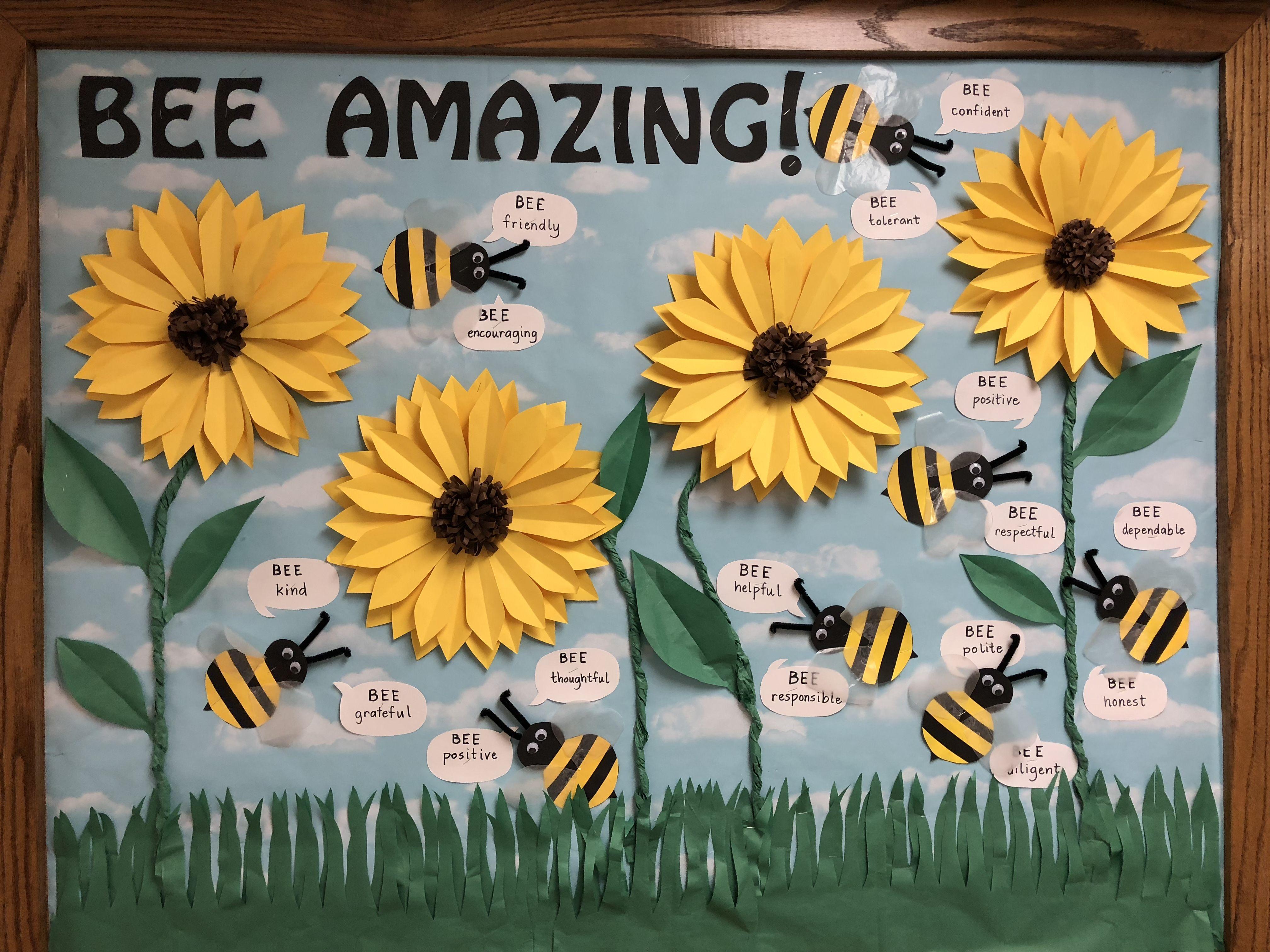 Classroom Theme Ideas Bees ~ Bee amazing sunflower bulletin board