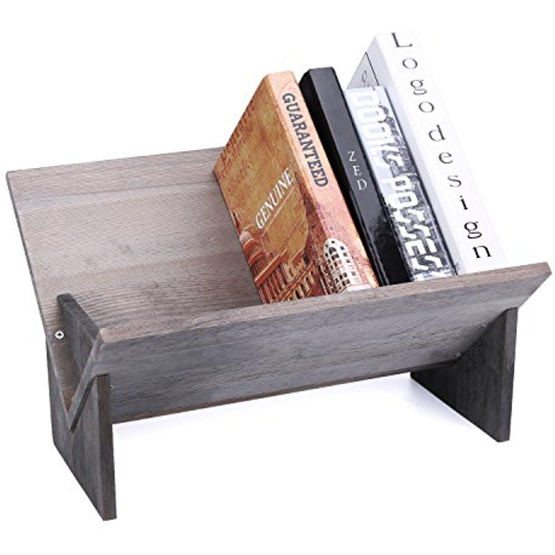 MyGift Rustic Barnwood Gray Tilted Desktop Bookshelf