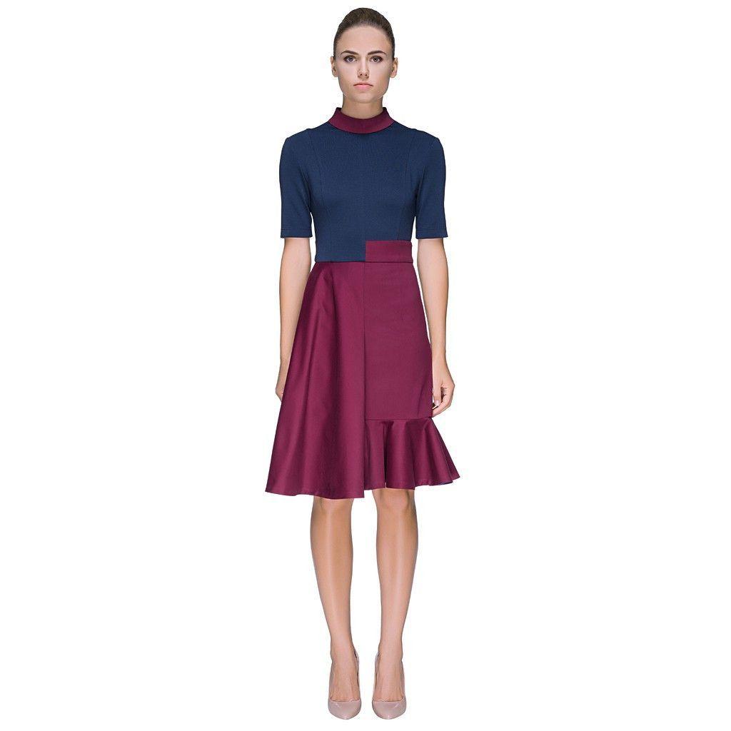 Neat u naughtyu multisilhouette high neck short sleeve dress