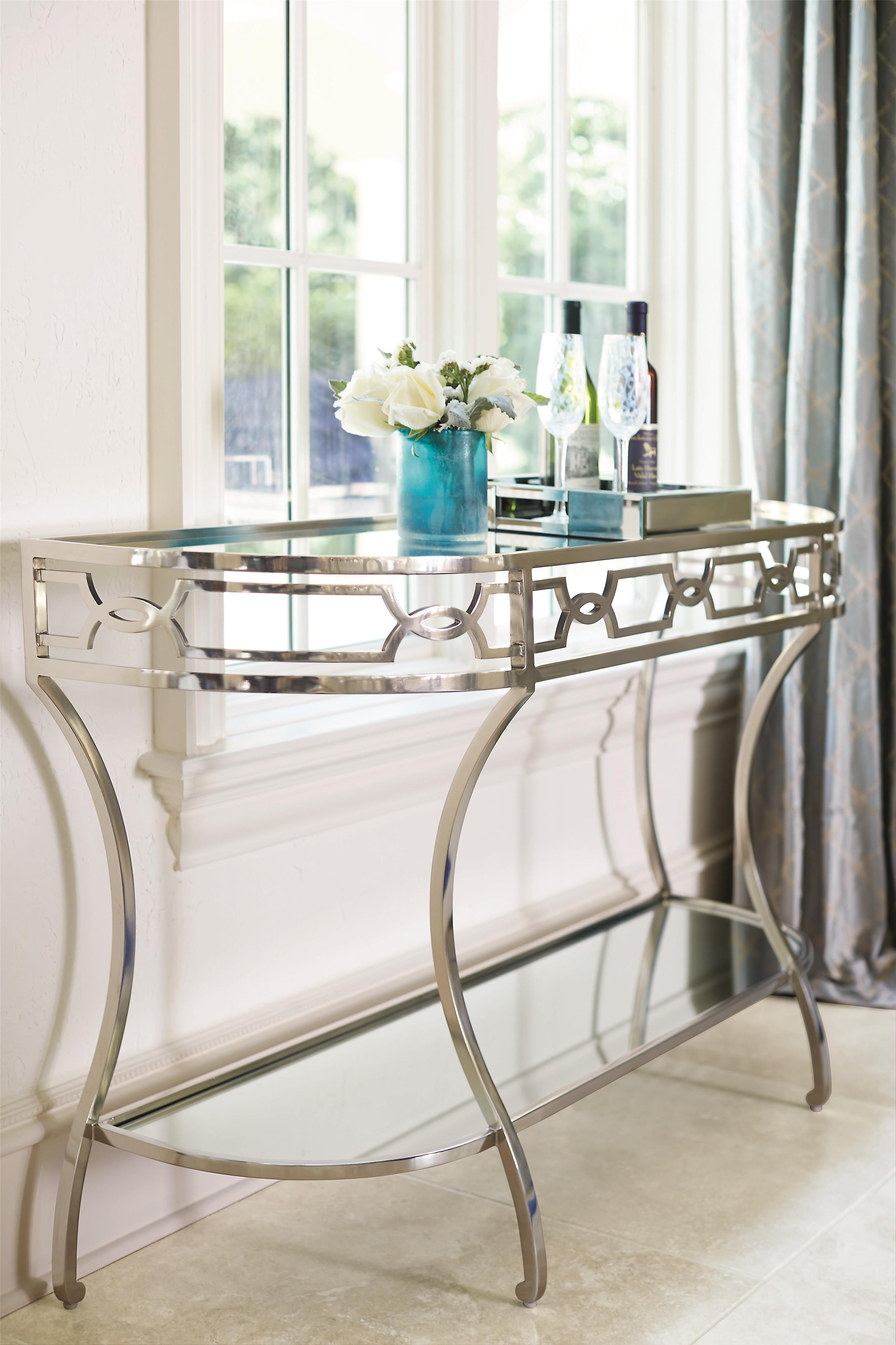 Criteria Metal Console Table With Mirrored Glass Shelves By Bernhardt At Baer S Furniture Metal Console Table Multipurpose Furniture Console Table