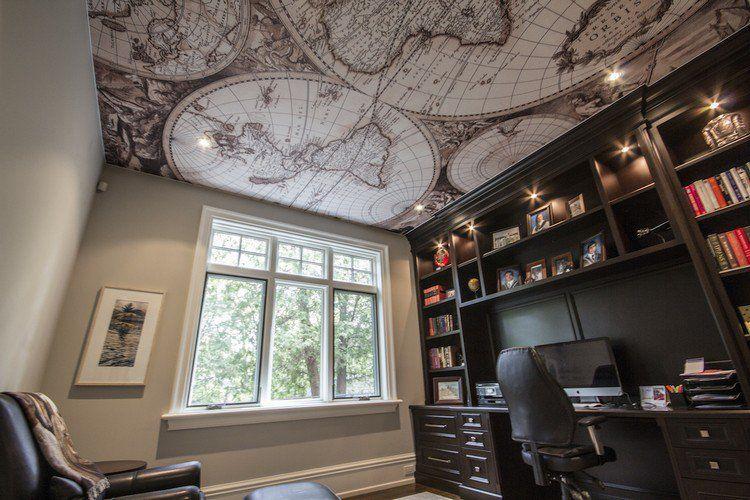 plafond moderne façon carte géographique, bureau moderne avec