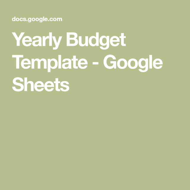Yearly Budget Template Google Sheets Financial Pinterest Yearly