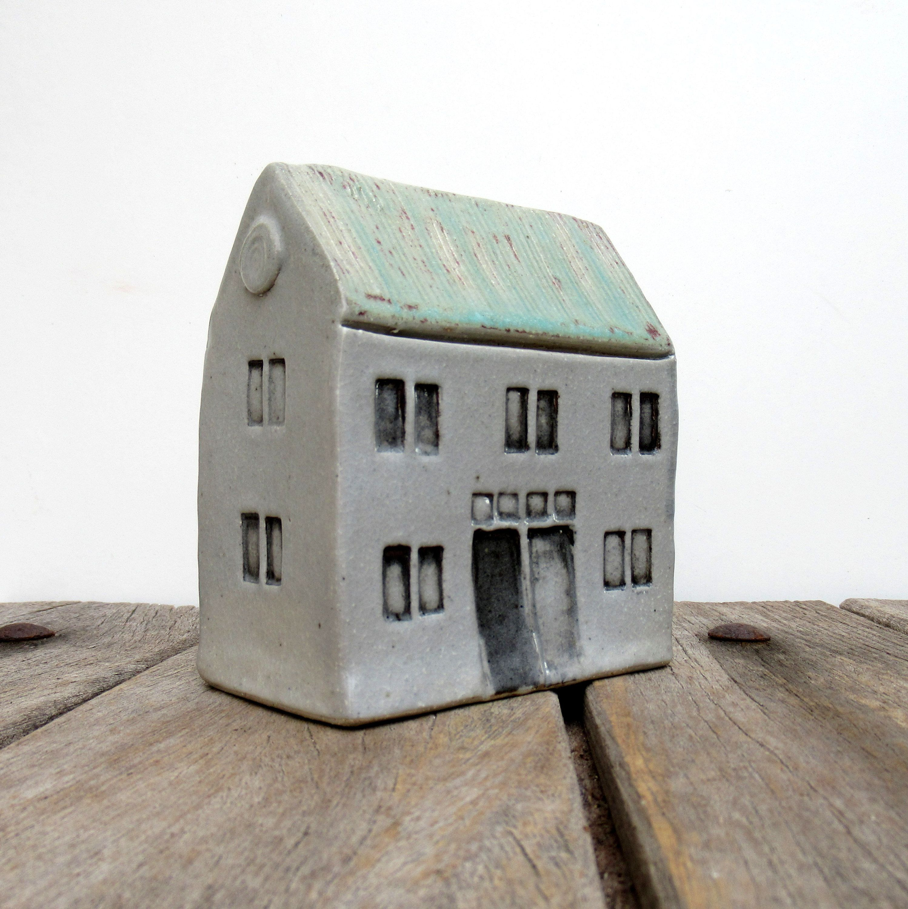 Tall Building Turquoise Roof House Grey White House Tiny