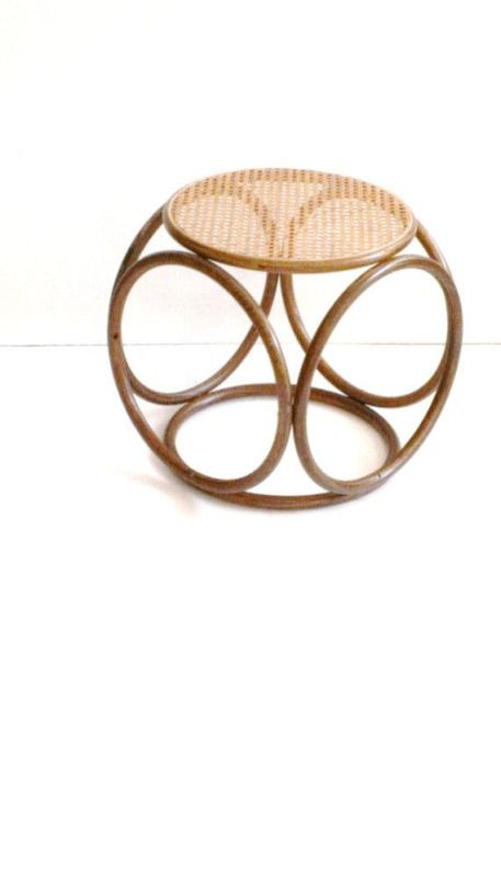 Cane Stool With Curves And Wooven Seat. #canefurniture