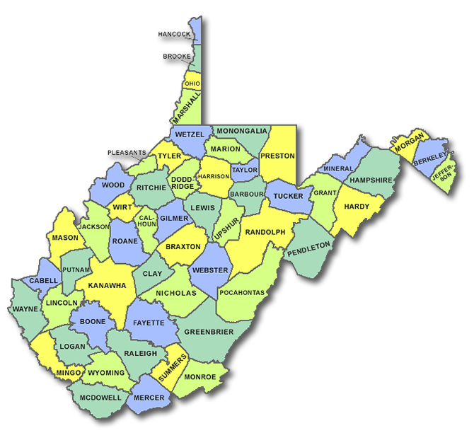 Free West Virginia County Map InterMountain Collaborative Home