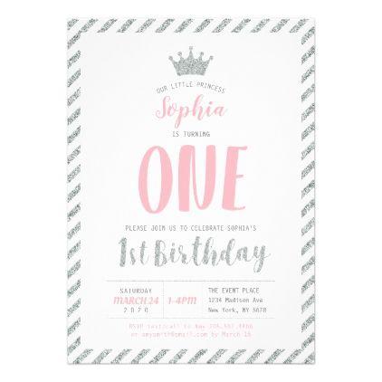 Silver Crown Princess 1st Birthday Invitation