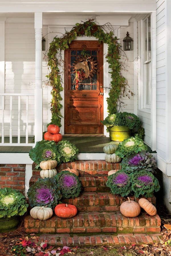 Front Door Harvest   Fabulous Fall Decorating Ideas   Southernliving. Pair  Pumpkins With Potted