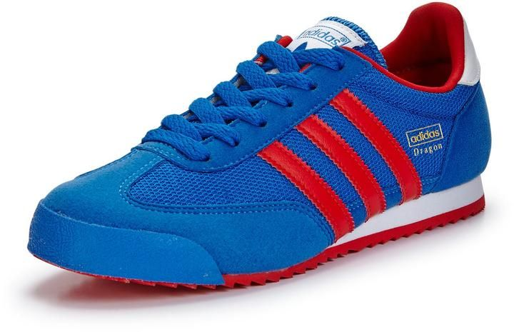 adidas dragon trainers white blue red