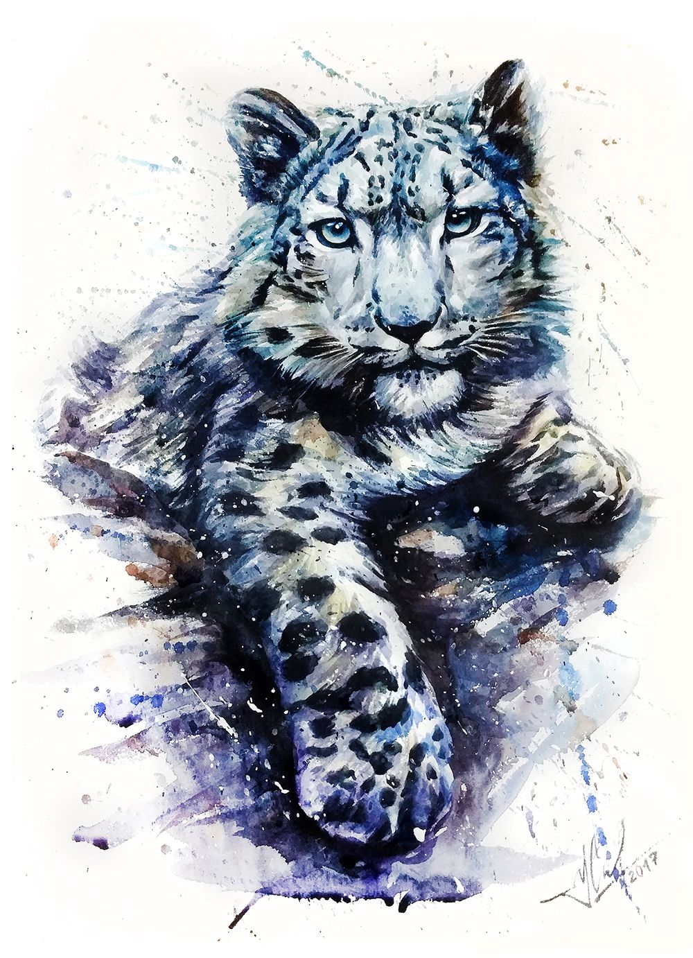 Snow Leopard Animals Watercolor Wild Cat Illustration