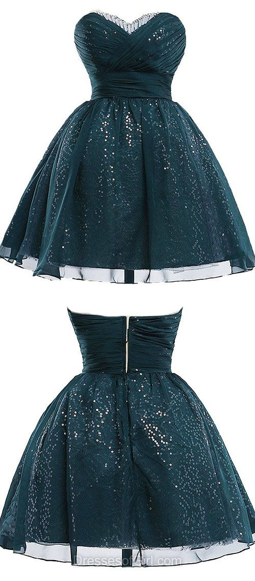 Ball Gown Homecoming Dresses, Sweetheart Party Dresses, Sequined Chiffon Short Cocktail Dress, Beading Classic Prom Dresses