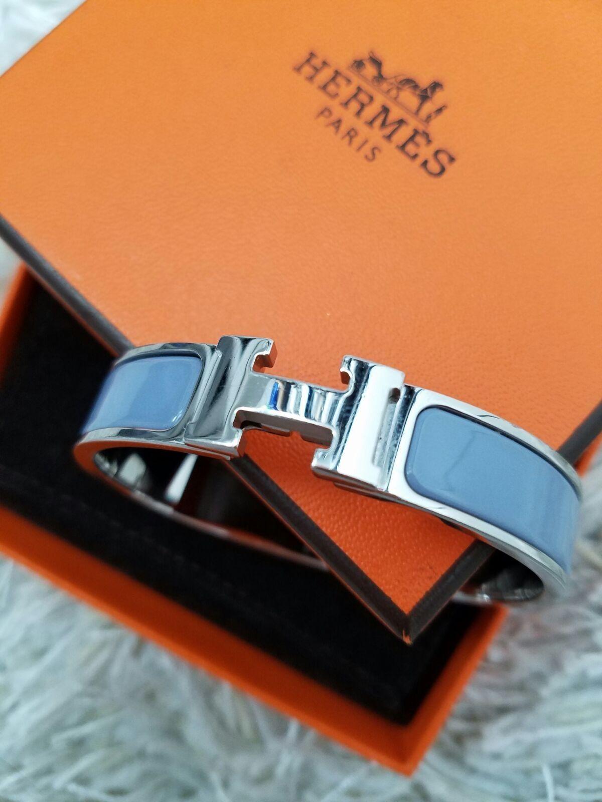 Hermes Blue Clic Clac Narrow Enamel Glacier Silver Hardware Bangle Bracelet 25 Off Retail Bangle Bracelets Bangles Hermes H Bracelet
