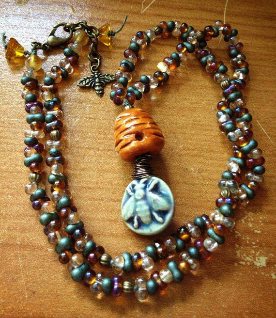 Bee Ceramic focal necklace Bee and Hive ceramic by FloatingVintage, £27.00