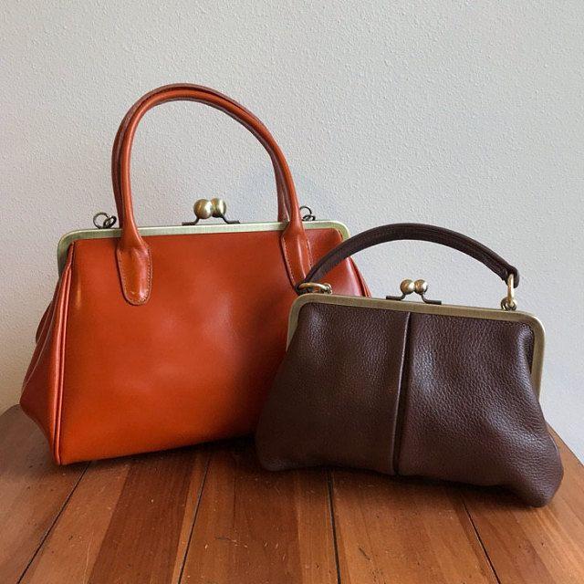 Sac à main de cuir « Little Alice » en marron, sac cuir vintage, sac en cuir, sac à bandoulière en cuir, embrayage, fermeture clip