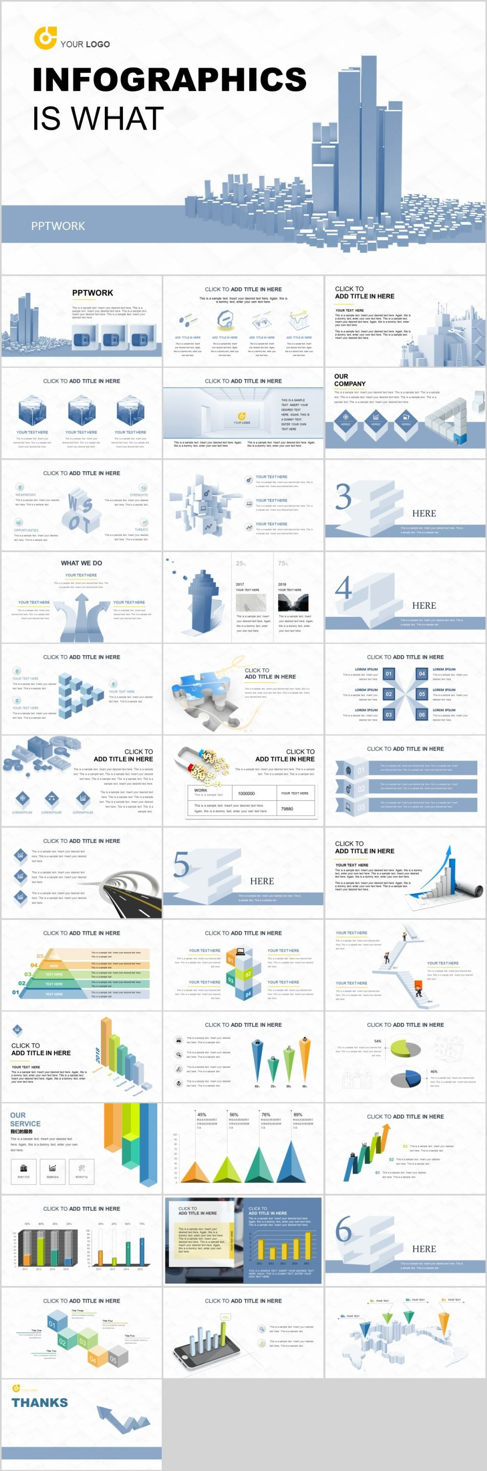 Creative blueinfographic PowerPoint template