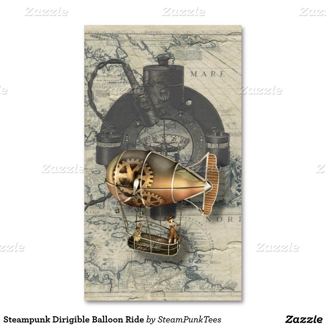 Steampunk Dirigible Balloon Ride | Business cards, Business and ...