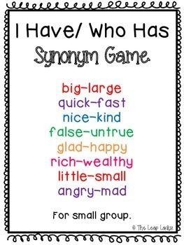 Synonyms Game Synonyms And Antonyms Antonyms Activities Antonyms