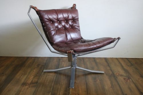 Falcon Chair Retro 60s 70s Danish Brown Low Back Chrome Base Ebay