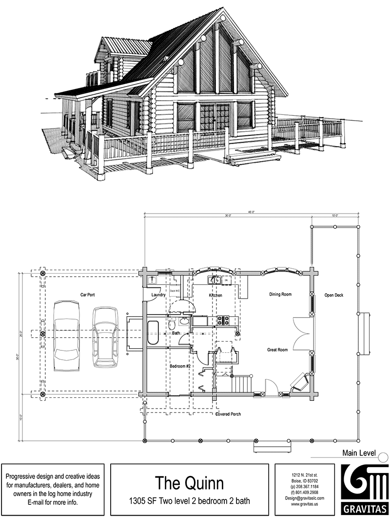 House plans with porches cabin floor plans log cabins for Small log cabin plans with loft