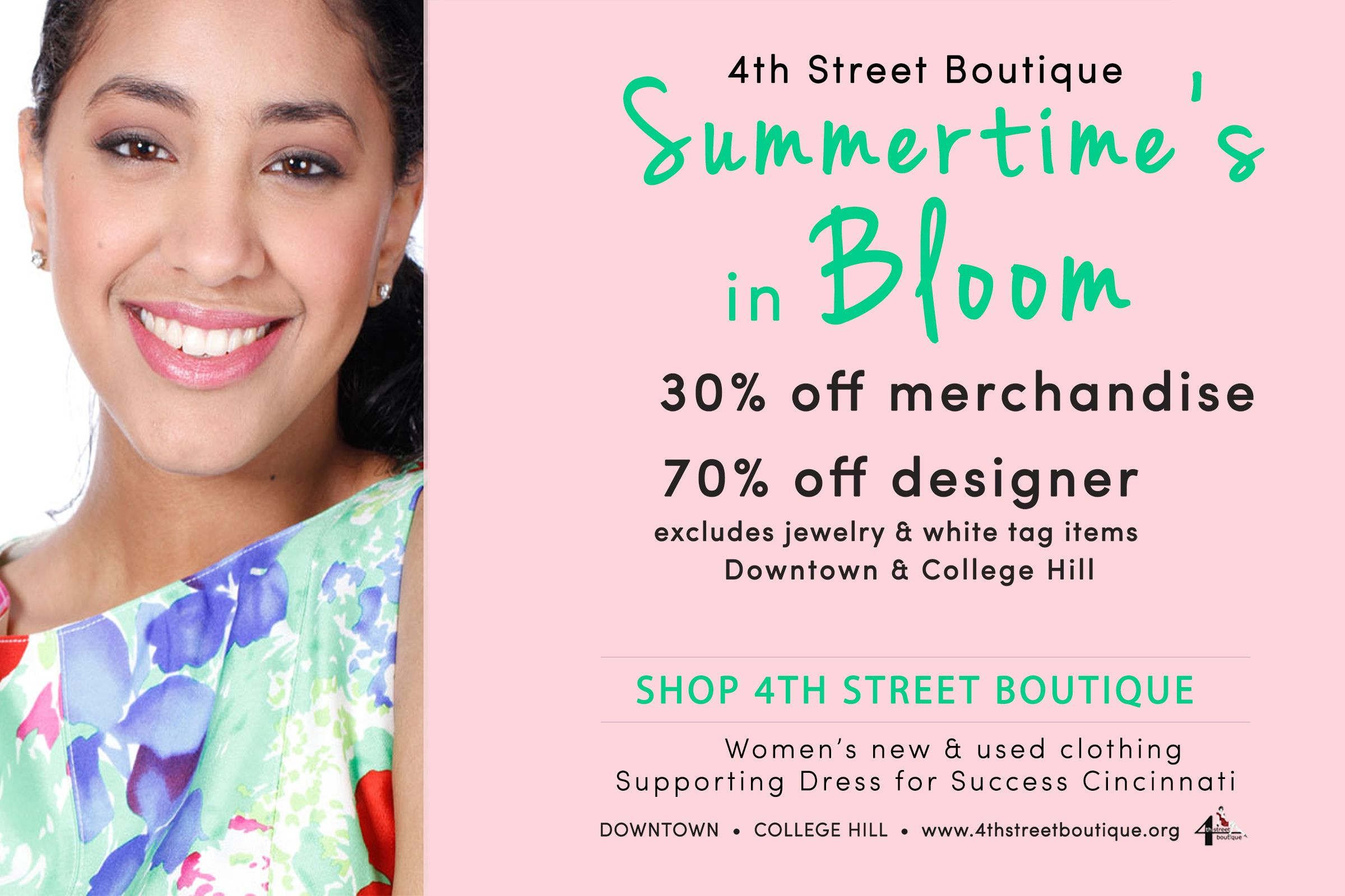June 3-15  30% off merchandise  70% off designer  Downtown and College Hill