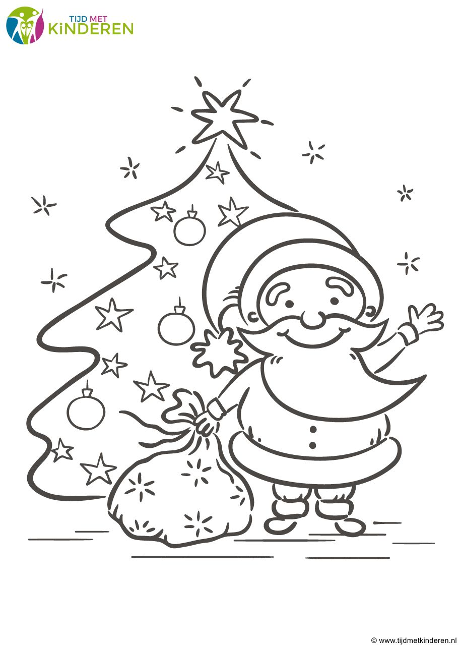 Kleurplaten Kerstman Met Kerstboom.Kerstboom Kleurplaat 38 Mooie Kleurplaten Kerstboom Beste