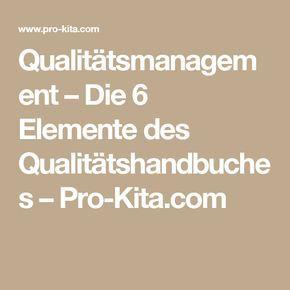 Qualitatsmanagement Die 6 Elemente Des Qualitatshandbuches Pro Kita Com Kita Leitung Bildung Lernen