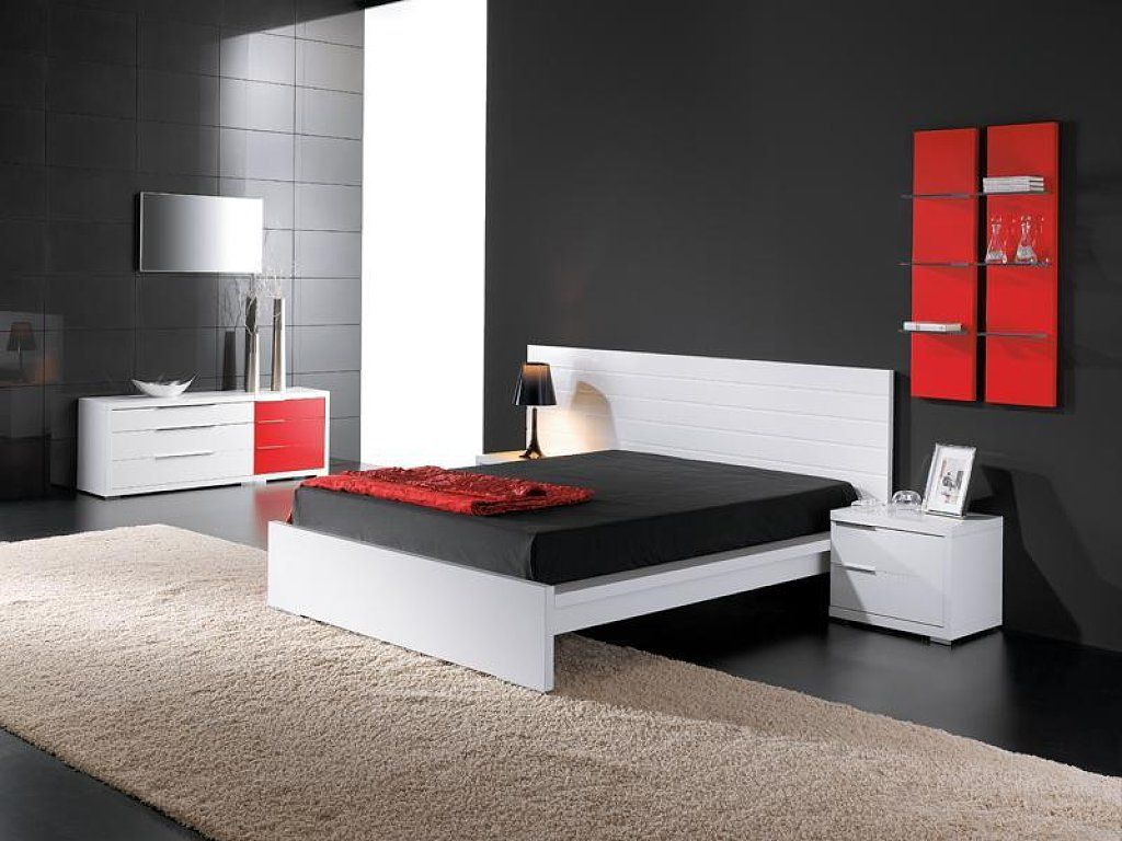 Dormitorio en blanco negro rojo black white red living - Decoracion blanco y negro ...
