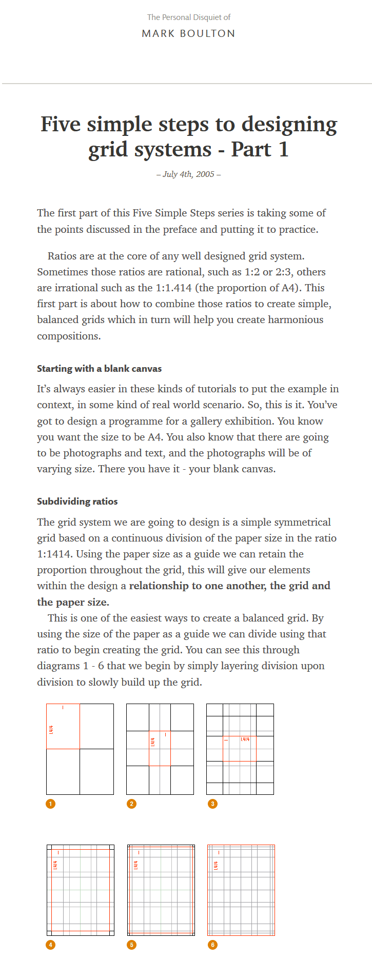 Five Simple Steps To Designing Grid Systems Part 1 The Personal Disquiet Of Mark Boulton Grid System Wellness Design Grid